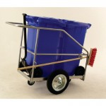 Double Street Orderly Truck complete with 2 x 120 litre wheeliebin in blue, shovel and brush