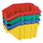 Recycling box system stackable bin with hinged lid colour red